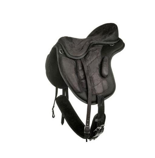 bezkostrové sedlo HKM černé barvy s černým podbřišákem