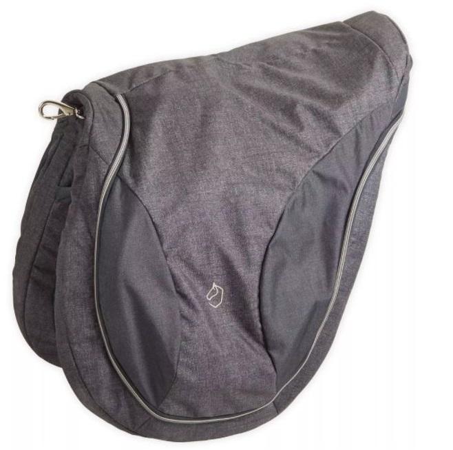 šedočerný obal na sedlo se zipem a karabinou na zavěšení
