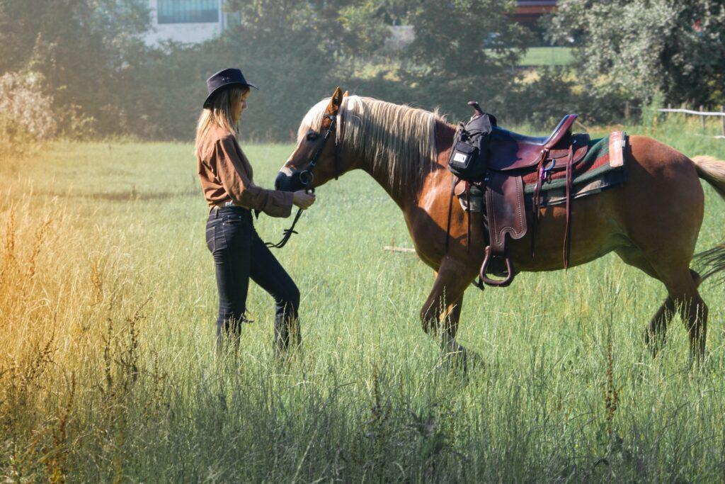 dívka v klobouku a džínách se svým hnědým koněm, kůň má westernové sedlo a deku
